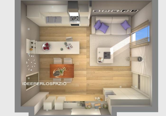 gallery living | ideeperlospazio® - Soggiorno Cucina 35 Mq